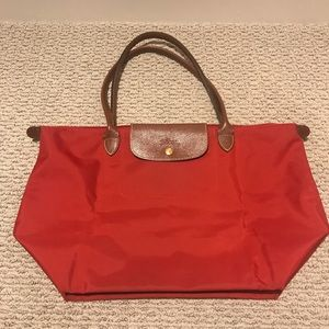 Longchamp Red Le Pliage Large Tote